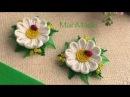 Kanzashi Daisy Clips Fabric Flower Канзаши МК Ромашки Заколки