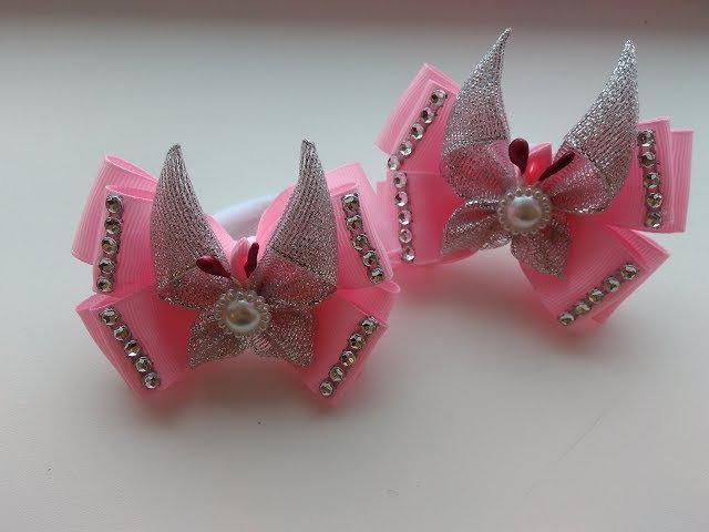 Нежные бантики с бабочками из лент Канзаши МК Delicate ribbon with butterfly ribbon Kanzashi MK
