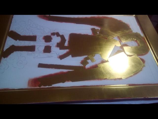 4) Золочение на полимент сусальным золотом . Мерная икона архангела Михаила .