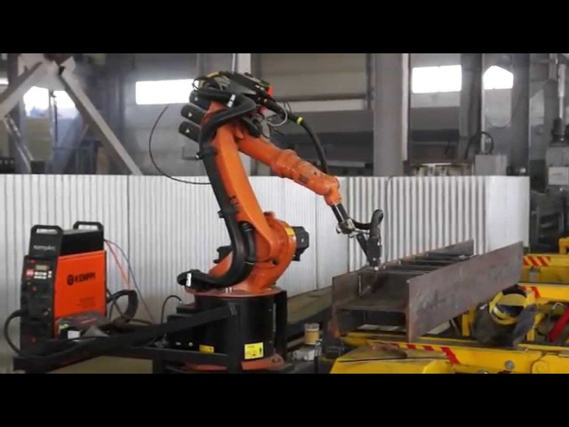 Приварка ребра жесткости к двутавровой балке роботом