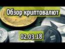 Обзор рынка криптовалют 02.03.18 bitcoin, ethereum, ripple, litecoin, tron, iota, monero