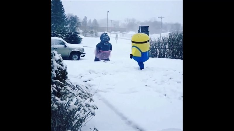 Inflatable Minion and Hippo in a Tutu Play Croquet in North Dakota Snow