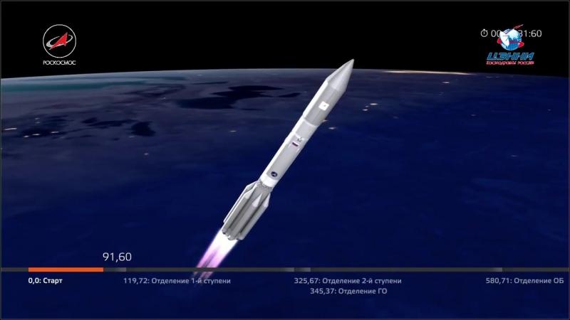 Пуск РКН ПротонМ с КА АзиаСат-9 Роскосмос