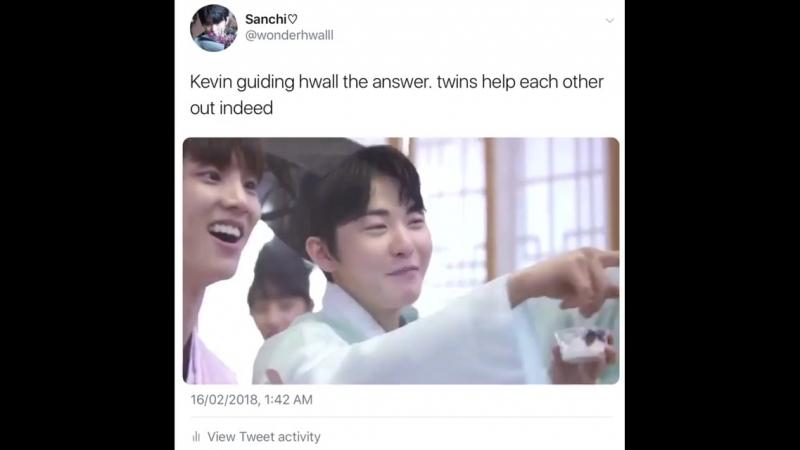 *the boyz* heo hyunjoon kevin moon - twins helping each other