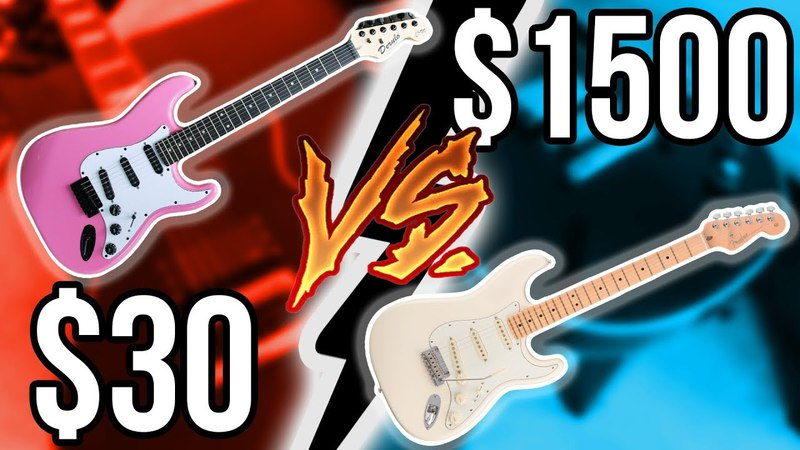 Cheapest Guitar Ever vs. Expensive American Fender!! || Guitar Shootout