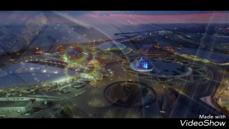 Олимпийский парк и дорога на Кр   Олимпийский парк и дорога на Красную поляну с птичьего полёта.