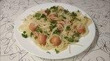 Спагетти в сосиске. Креативное блюдо.