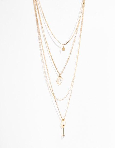 Ожерелье с цепочками и бусинами