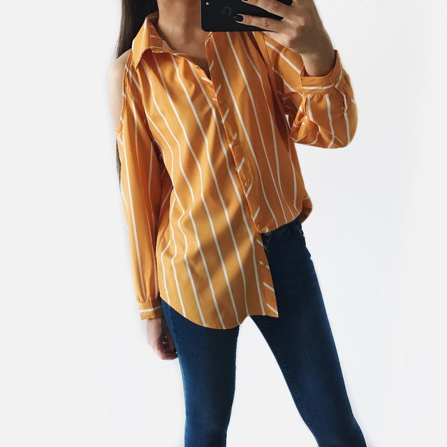 Лгкая тонкая рубашечка желтого цвета в широкую полоску с открытыми плечами
