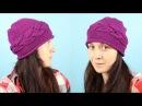 Вязаная шапка с поперечной косой Шапка спицами💎