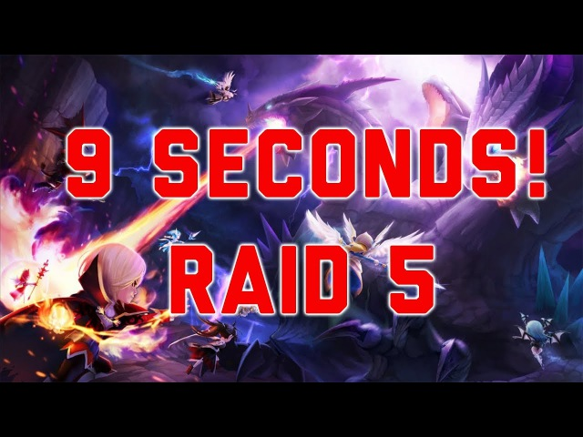 Summoners war: 9 Second raid 5 run with Vaynesolidor Sheisou