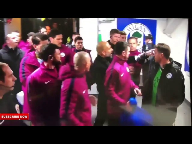 Pep Guardiola attacking Wigan manager Paul Cook at half time 19 02 2018 Wigan 1 0 Man City