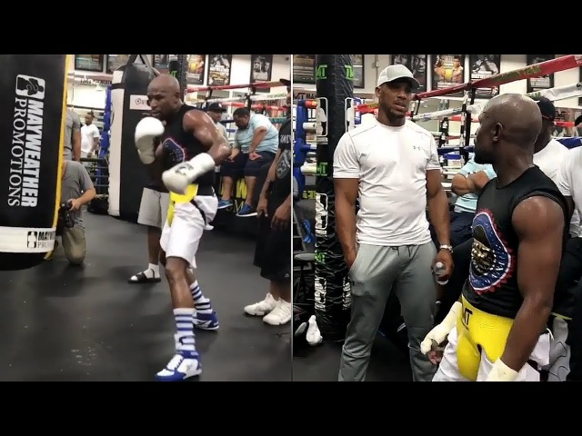 MAYWEATHER BACK IN THE GYM WITH ANTHONY JOSHUA! DISPLAYS SHOT GUN LIKE JAB! mayweather back in the gym with anthony joshua! disp