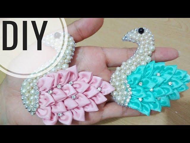 DIY || REUPLOAD Tutorial Pretty Swan 🕊️ (English subtitles) | Cara Membuat Bros Angsa Sparkling