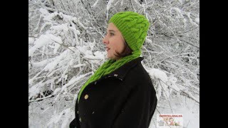 Вязание шапочки, шарфа и варежек узором коса на 12 петлях. Часть1: шапка и шарфик