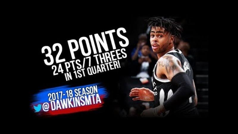 D'Angelo Russell Full Highlights 2018.3.13 Nets vs Raptors - 32 Pts, 24 1st Quarter! | FreeDawkins