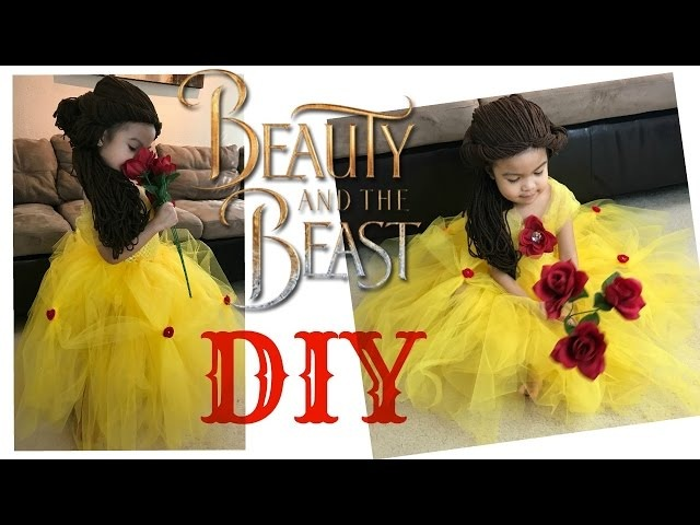 BELLE BEAUTY AND THE BEAST FULL COSTUME DIY DRESS TUTU AND HAIR TUTORIAL FOR TODDLERS