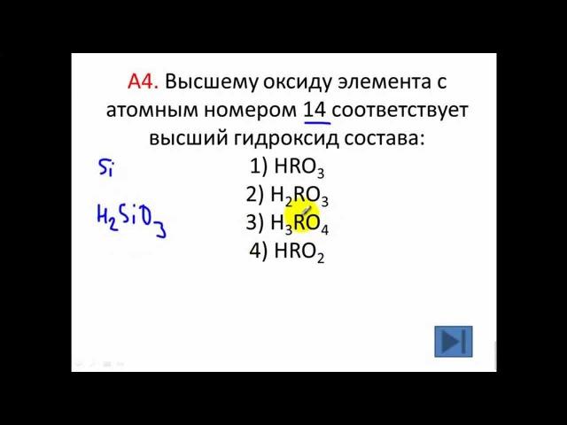 Тесты по химии Периодическая система А4 ЦТ 2011