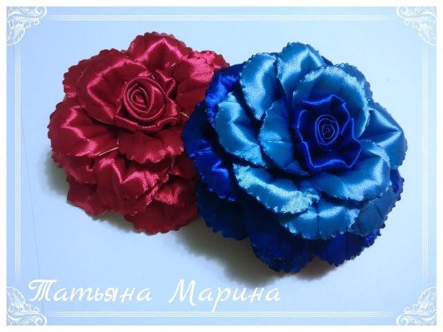 МК Необычная объемная роза из атласной ленты 12.5 см/volumetric rose/rosa volumétrico