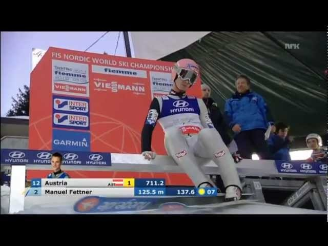 Manuel Fettner balancing on one ski at World Ski Championships 2013 in Val di Fiemme