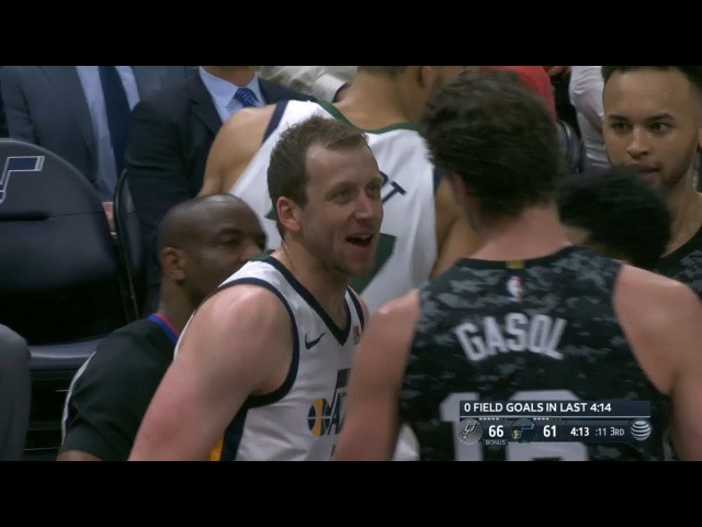 Pau Gasol Joe Ingles Exchange Words | Spurs vs Jazz | February 12, 2018 | 2017-18 NBA Season