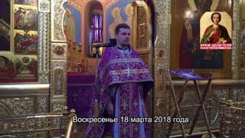 Воскресная проповедь иерея Дмитрия Ваулина_18 марта 2018