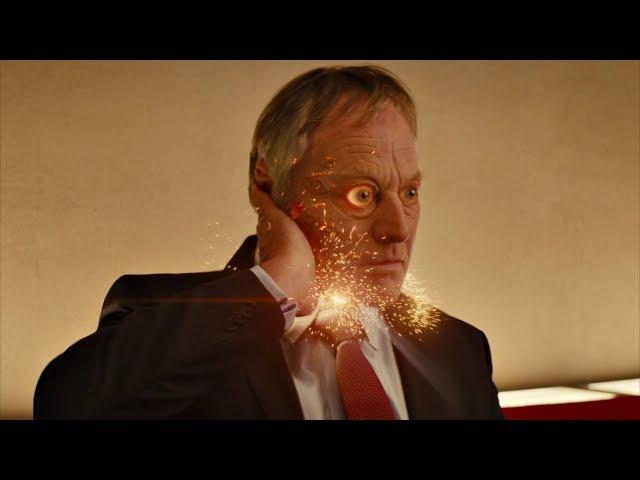 Мерлин взрывает имплантаты у всех избранных. Kingsman: Секретная служба. 2015