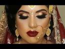 Real Bride Asian Bridal Traditional Makeup Dramatic Bold Winged Eyes And Dark Red Lipstick