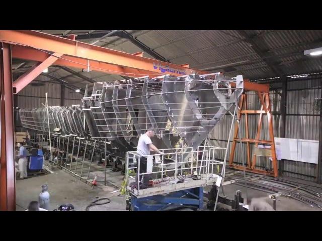ПОСТРОЙКА АЛЮМИНИЕВОЙ ЯХТЫ (23 metre work boat aluminum time lapse build)