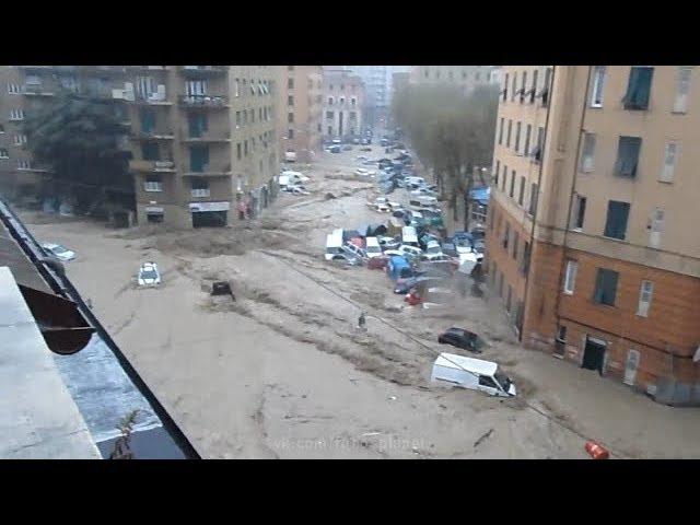 Катастрофический паводок в городе Генуя, Италия | Historic flood in Genova, Italy