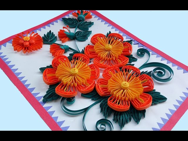 ☑️ Paper Quilling Art ❤ How to make Beautiful Quilling Orange/ Yellow Flower design Greeting Card