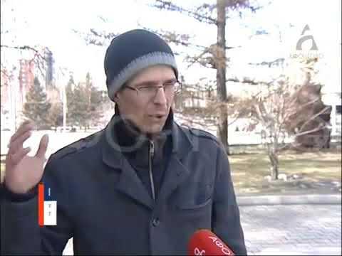 Солевой реагент на проезжей части Красноярска Афонтово