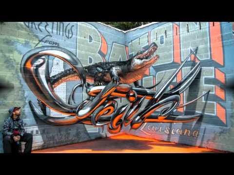 Бесподобные рисунки 3d граффити на стенах, парящие в воздухе