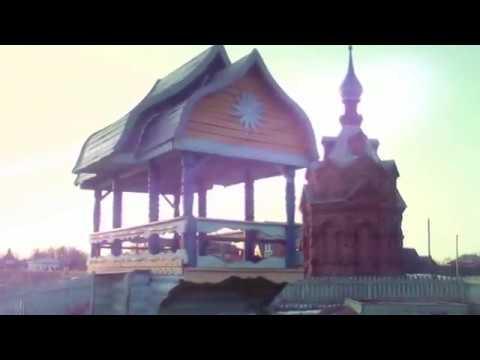 Закат солнца в селе Холуй на реке Теза 09.04.18г