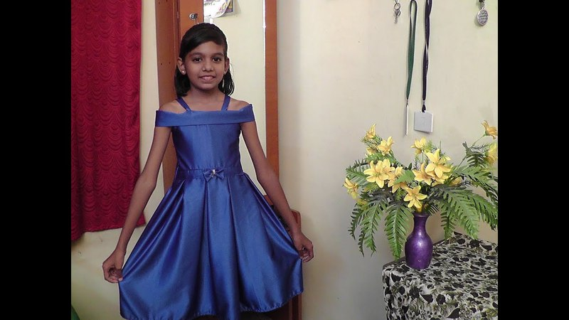 KIDS SATIN DESIGNER OFF SHOULDER BOX PLEAT FROCK CUTTING AND STITCHING PART-2