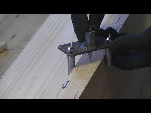 Как поставить самоцентрирующийся кондуктор шкантов по отметке. (Как засверлить шкант.)