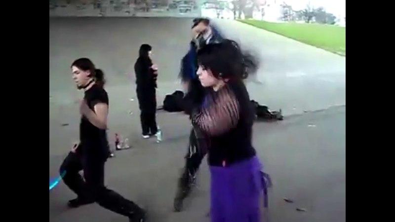 Cybergoth dancing but it's devilman no uta
