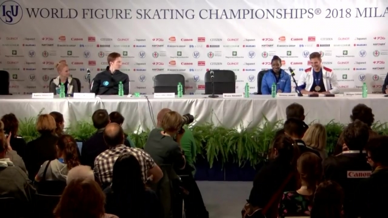 Pairs FS Press Conference - Worlds Milan 2018