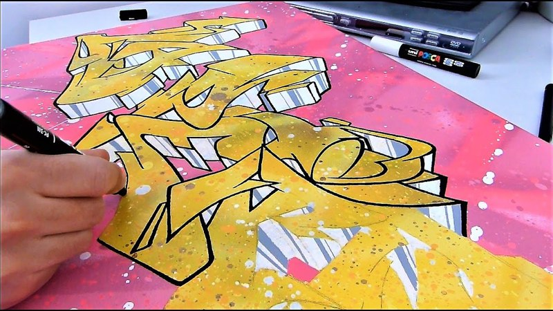 Graffiti Canvas Graff sur toile Posca and Spraypaint [HD]