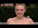 Dakota Fanning arrives at the SAGs red carpet in a pink gown