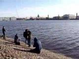 Russia. Petersburg. The center. Neva. Fishing.