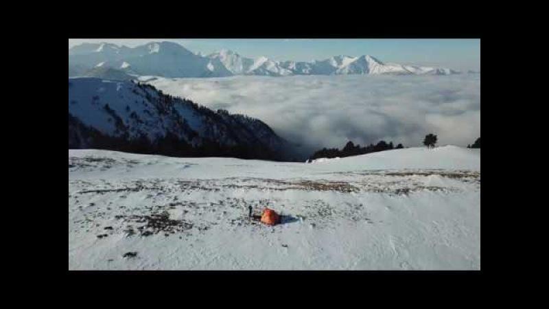 Зима в Кавказском заповеднике в 4K (снег и горы с высоты птичьего полета)