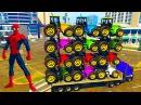 Цветные Машинки для Детей Синий Трактор и Супергерои Мультики про машинки Челов...