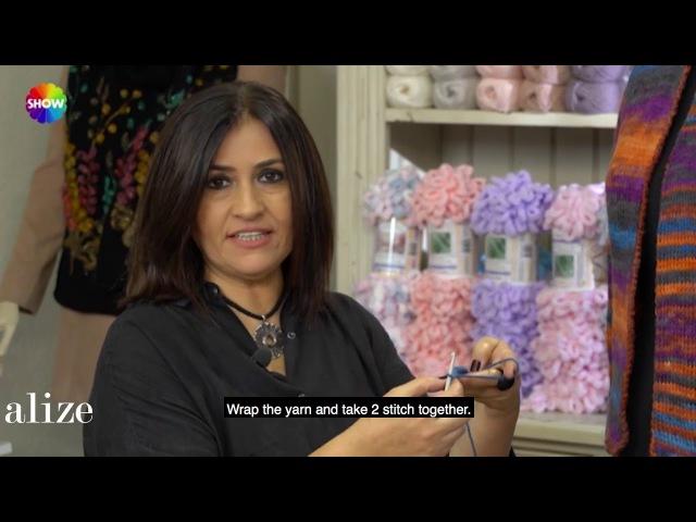 Alize Burcum Batik ile Yelek Yapımı Making Tunisian Work Knit Stitch with Alize Burcum Batik
