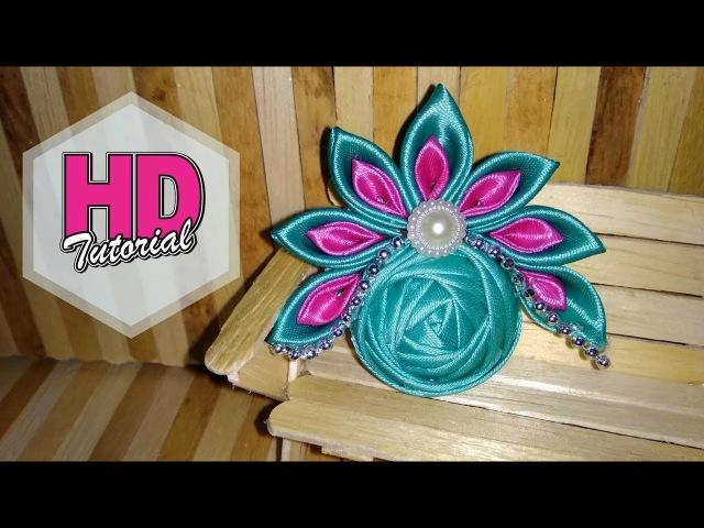 DIY - Cara Membuat Bros Mahkota Cantik || Kanzashi Flower || HD Tutorial