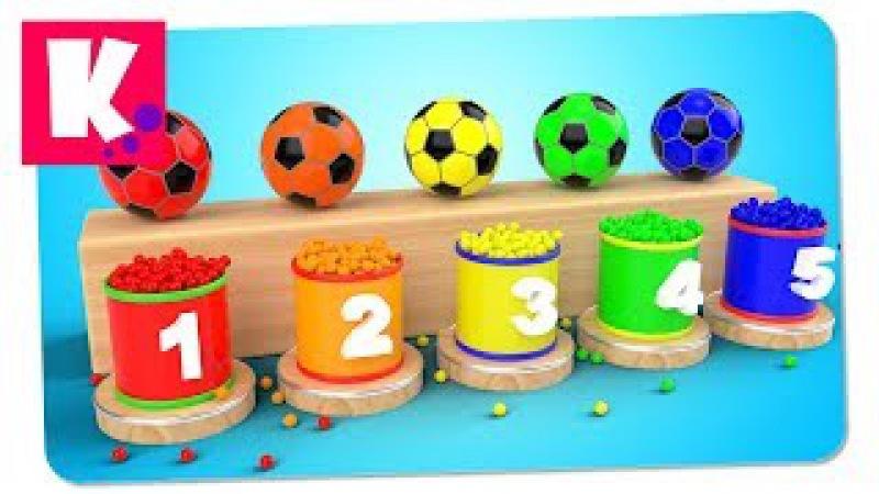 Футбольные Мячи и Цветные Шарики. Учим Цвета и Цифры от 1 до 5 | Сборник Декабрь 2017 | Multi Kids