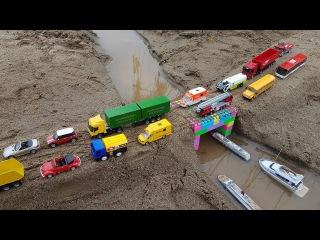 Car toy videos for kids | Excavator, truck, dump truck, cranes, boat | Bi Bi Kids