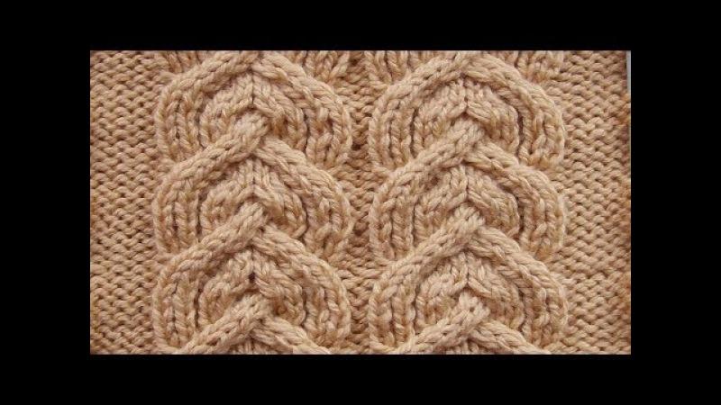Рельефные дорожки Косички Вязание спицами Видеоурок 271