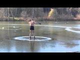 Проверка льда на прочность! Семенов Николай. Dangerous! Crazy russian winter swimming. Iceflydiving.