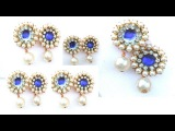 How to make paper,white shell pearls,stones earring at home easly